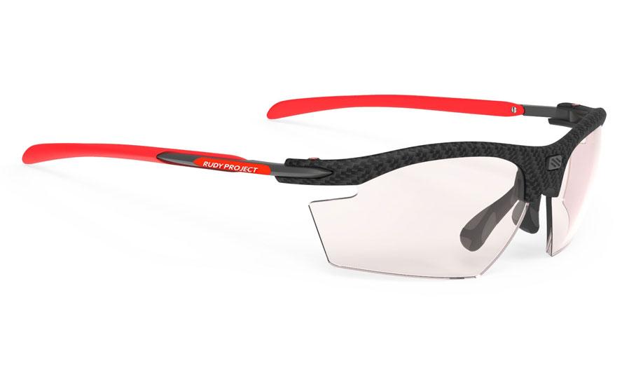 Rudy Project Rydon Prescription Sunglasses - Clip-On Insert - Carbonium & Red / ImpactX 2 Photochromic Laser Red