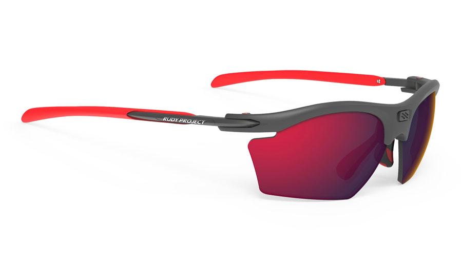 Rudy Project Rydon Slim Prescription Sunglasses - Clip-On Insert - Matte Graphite & Red / Polar 3FX HDR Multilaser Red