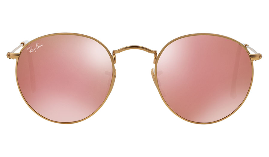 4983362487 Ray-Ban RB3447 Round Metal Sunglasses - Matte Gold   Copper Flash ...