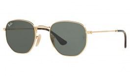 Ray-Ban RB3548N Hexagonal Flat Lens Sunglasses - Gold / Green (G-15)