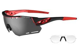 Tifosi Alliant Prescription Sunglasses - Clip-On Insert - Black & Red / Smoke + AC Red + Clear