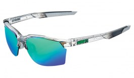100% Sportcoupe Sunglasses - Translucent Crystal Grey / Green Multilayer Mirror + Clear