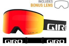 Giro Axis Prescription Ski Goggles - Black Wordmark / Vivid Ember + Vivid Infrared