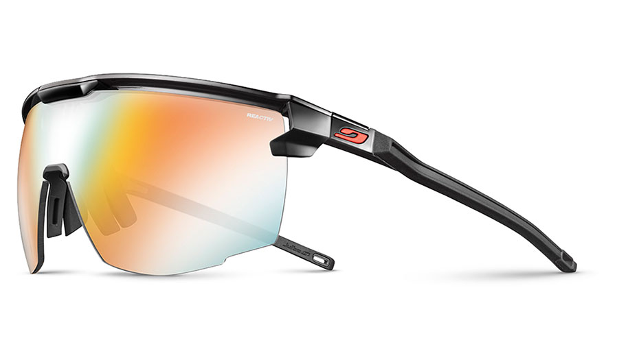 Julbo Ultimate Prescription Sunglasses - Clip-On Insert - Matte Black & Red / Reactiv Performance 1-3 Light Amplifier Photochromic