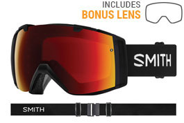 Smith Optics I/O Prescription Ski Goggles - Black / ChromaPop Sun Red Mirror + ChromaPop Storm Rose Flash