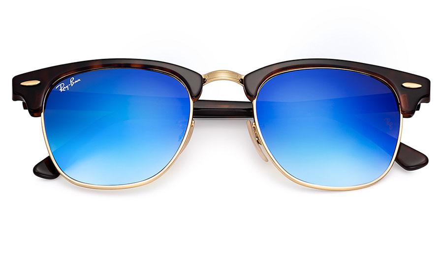 c9e71f7646 Ray-Ban RB3016 Clubmaster Sunglasses - Tortoise   Gold   Blue Gradient Flash