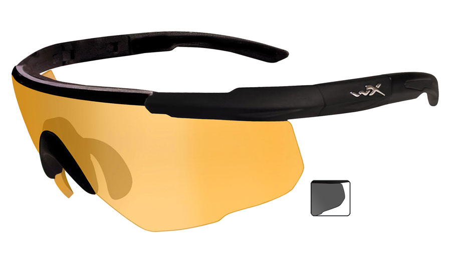 Wiley X Saber Advanced Sunglasses - Matte Black / Light Rust + Smoke Grey