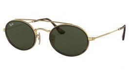 Ray-Ban RB3847N Oval Double Bridge Sunglasses - Gold / Green