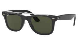 Ray-Ban RB4540 Wayfarer Double Bridge Sunglasses - Black / Green