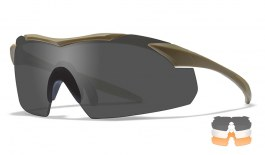 Wiley X Vapor Prescription Sunglasses - Clip-On Insert - Matte Tan / Smoke Grey + Clear + Light Rust