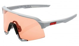 100% S3 Sunglasses - Soft Tact Stone Grey / HiPER Coral + Clear