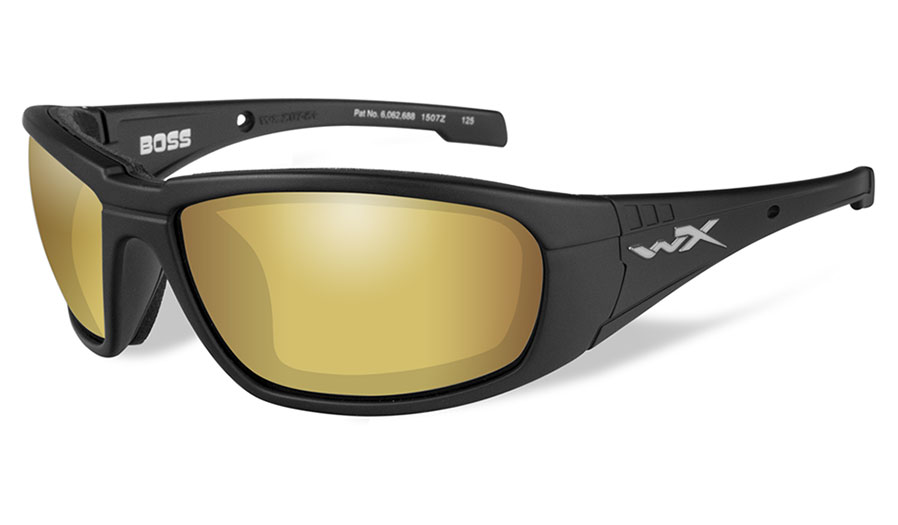 Wiley X Boss Sunglasses - Matte Black / Amber Venice Gold Mirror Polarised