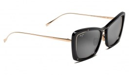 Maui Jim Adrift Sunglasses - Gloss Black & Shiny Gold / Neutral Grey Polarised