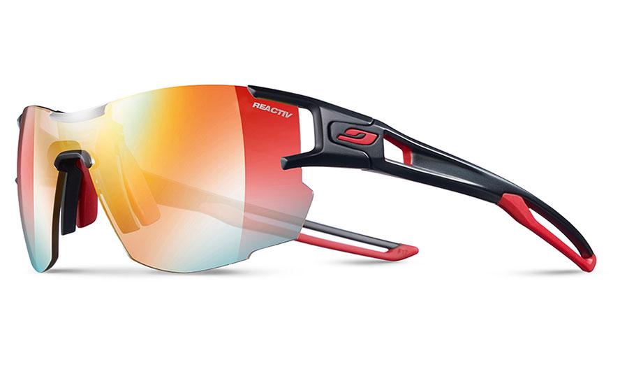 Julbo Aerolite Prescription Sunglasses - Clip-On Insert - Matte Black & Red / Reactiv Performance 1-3 Light Amplifier Photochromic
