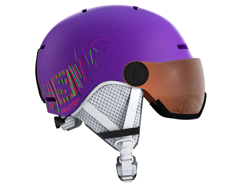 Salomon Grom Visor Ski Helmet - Matte Purple / Universal Tonic Orange