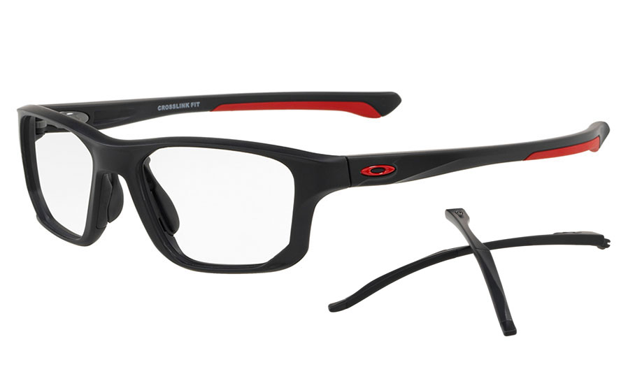 cef43a9fbf3 Oakley Crosslink Fit Prescription Glasses - Satin Black   Red ...