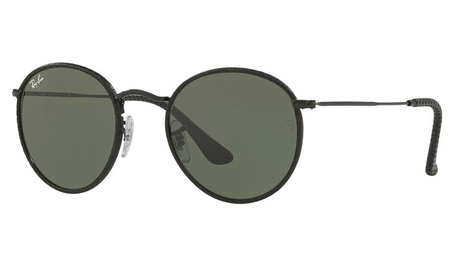 Ray ban rb3475q round craft sunglasses black black for Ray ban round craft