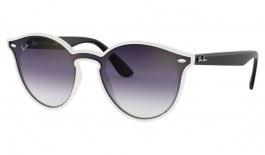Ray-Ban RB4380N Blaze Sunglasses - Matte Transparent & Black / Grey Gradient Red Mirror