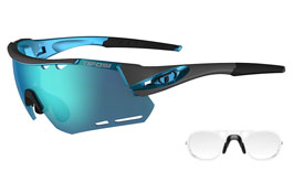 Tifosi Alliant Prescription Sunglasses - Clip-On Insert - Gunmetal & Blue / Clarion Blue + AC Red + Clear
