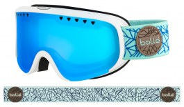 Bolle Scarlett Ski Goggles - Matte White & Blue Diamond / NXT Phantom Vermillon Blue Photochromic