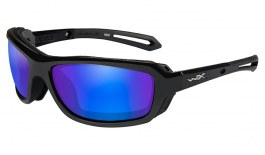 Wiley X Wave Sunglasses - Gloss Black / Green Blue Mirror Polarised