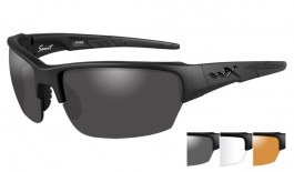 Wiley X Saint Sunglasses - Matte Black / Smoke Grey + Clear + Light Rust