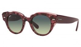 Ray-Ban RB2192 Roundabout Sunglasses - Red Havana & Transparent Bordeaux / Blue Green Gradient