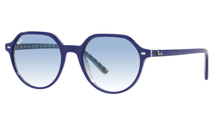 Ray-Ban RB2195 Thalia Sunglasses - Blue on Transparent Pattern / Light Blue Gradient