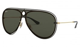 Ray-Ban RB3605N Sunglasses - Black & Gold / Green
