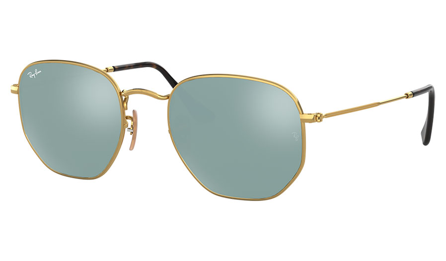 Ray-Ban RB3548N Hexagonal Flat Lens Sunglasses - Gold / Silver Flash