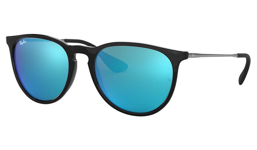 Ray-Ban RB4171 Erika Sunglasses - Gloss Black / Light Green w/Blue Mirror