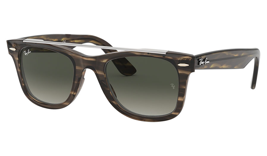 Ray-Ban RB4540 Wayfarer Double Bridge Sunglasses - Striped Brown / Grey Gradient