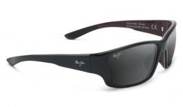Maui Jim Local Kine Sunglasses - Shiny Black with Grey and Maroon / Neutral Grey Polarised