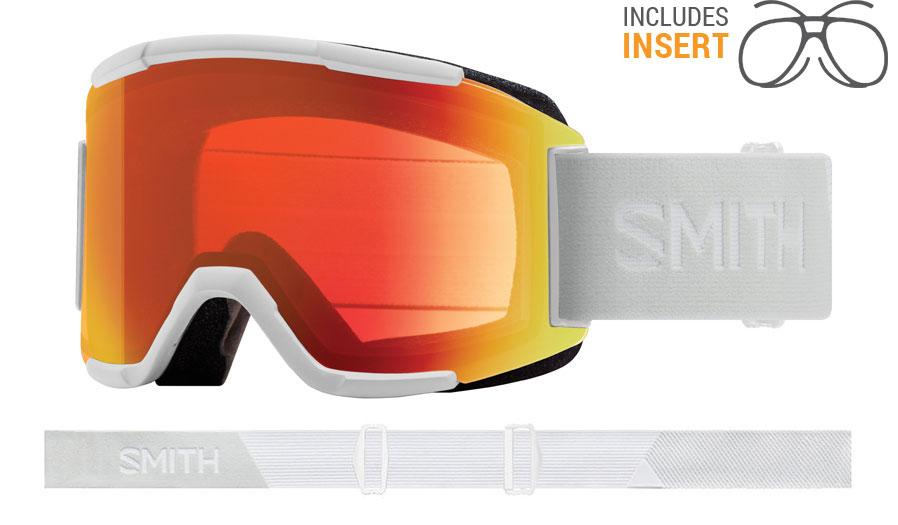 Smith Optics Squad Prescription Ski Goggles - White Vapor / ChromaPop Everyday Red Mirror + Yellow