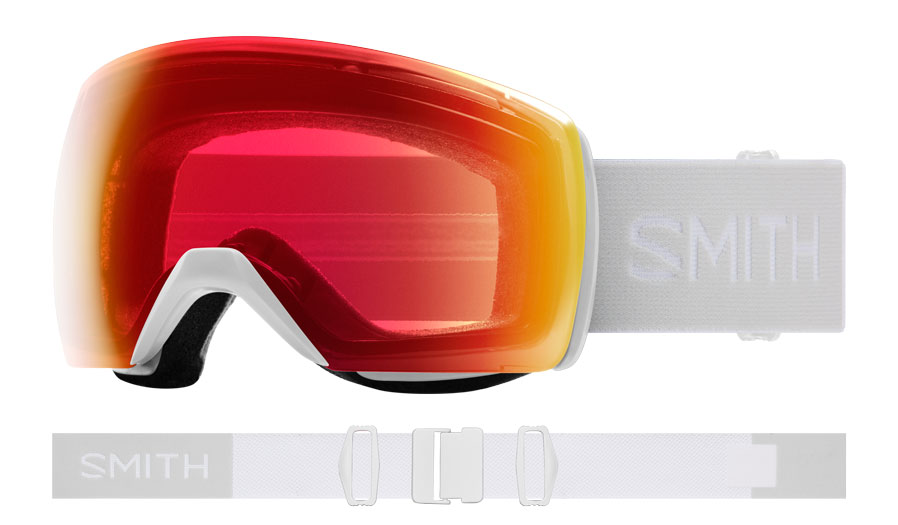 Smith Skyline XL Ski Goggles - White Vapor / ChromaPop Photochromic Red Mirror