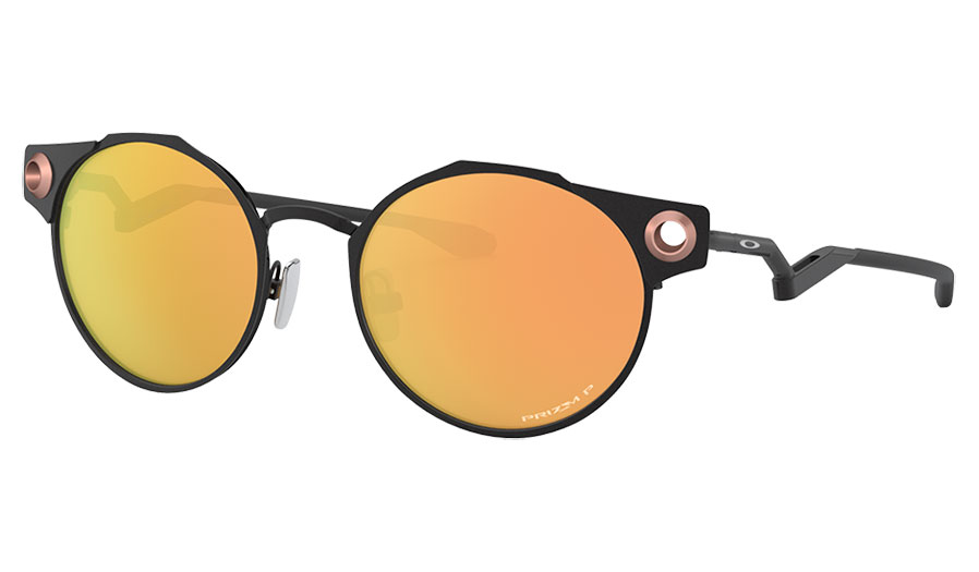 Oakley Deadbolt Sunglasses - Satin Black / Prizm Rose Gold Polarised