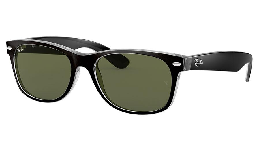Ray-Ban RB2132 New Wayfarer Sunglasses - Black on Transparent / Green