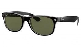 Ray-Ban RB2132 New Wayfarer Sunglasses - Black on Transparent / G-15 Green
