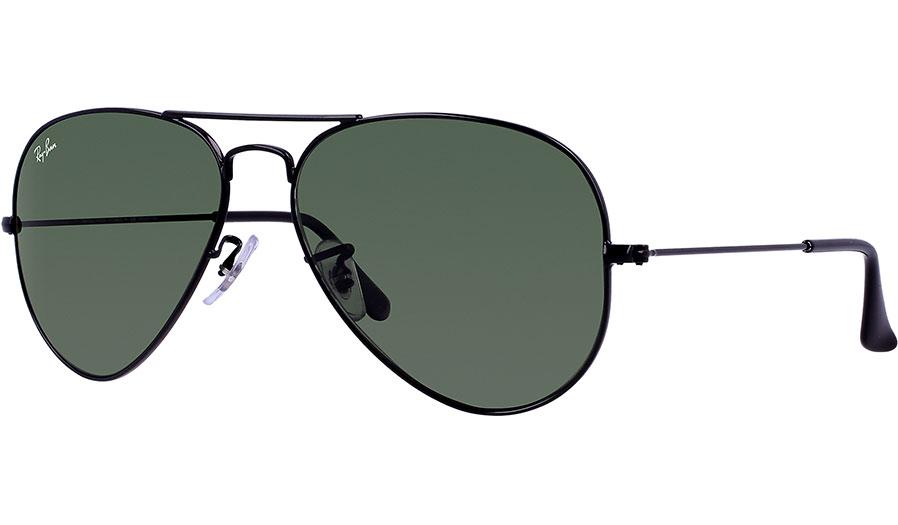 e2cc1983137 Ray-Ban RB3026 Aviator Large Metal II Sunglasses - Black   Green - RxSport