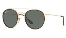 Ray-Ban RB3647 Round Double Bridge Sunglasses - Gold / Green