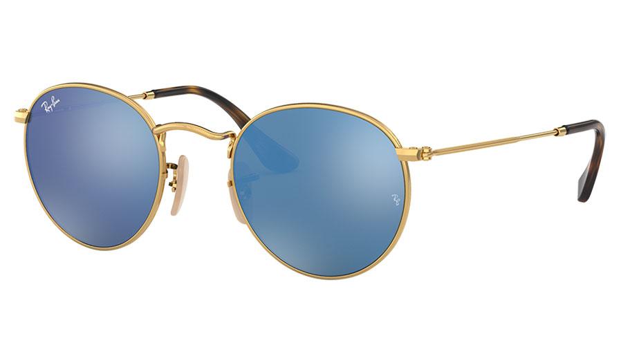 Ray-Ban RB3447N Round Metal Flat Lens Sunglasses - Gold / Light Blue Flash