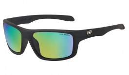 Dirty Dog Axle Sunglasses - Satin Black / Green Fusion Mirror Polarised