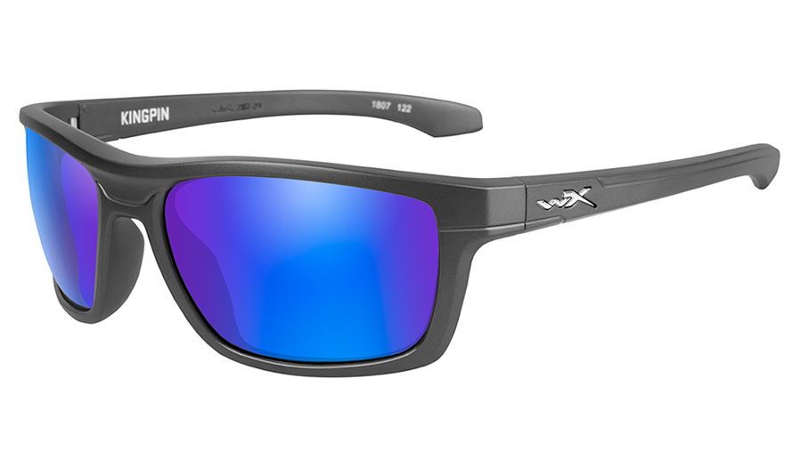 Wiley X Kingpin Sunglasses - Matte Graphite / Green with Blue Mirror Polarised