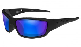 Wiley X Tide Sunglasses - Matte Black / Green Blue Mirror Polarised
