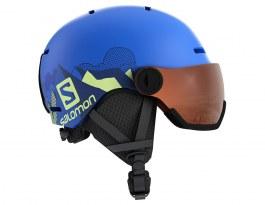 Salomon Grom Visor Ski Helmet - Matte Pop Blue / Universal Tonic Orange