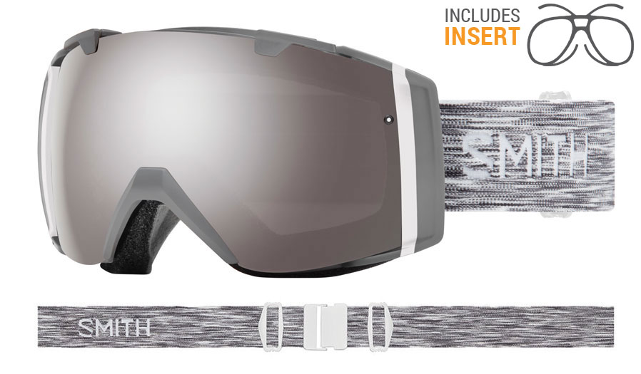 Smith Optics I/O Prescription Ski Goggles - Cloudgrey / ChromaPop Sun Platinum Mirror + ChromaPop Storm Rose Flash