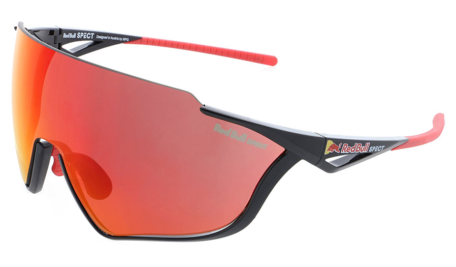 Red Bull Pace Sunglasses - Shiny Black / Smoke Red Mirror + Transparent