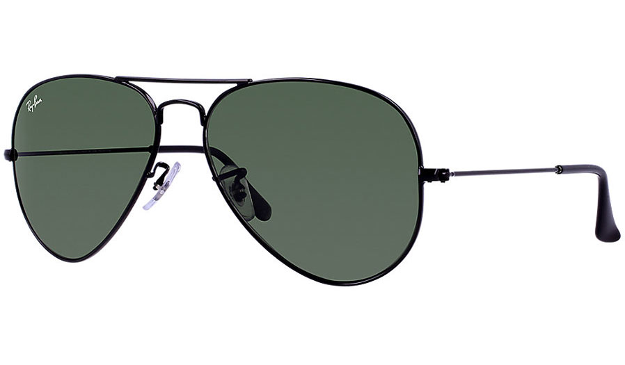 70a44c3d0d Ray-Ban RB3025 Aviator Sunglasses - Black   Green (G-15 XLT) - RxSport