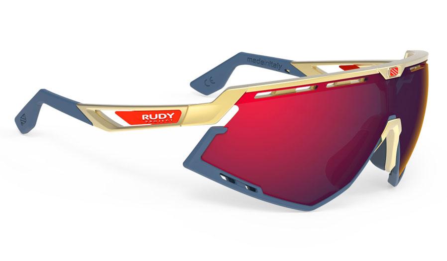 Rudy Project Defender Sunglasses - Matte Gold & Navy / Multilaser Red